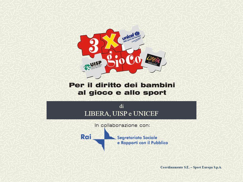 2 3xgioco Il progetto e gli obiettivi 3Xgioco , è un'iniziativa sociale promossa da Libera, Uisp e Unicef per sensibilizzare l'opinione pubblica sul tema dei diritti dei bambini al gioco e allo sport.