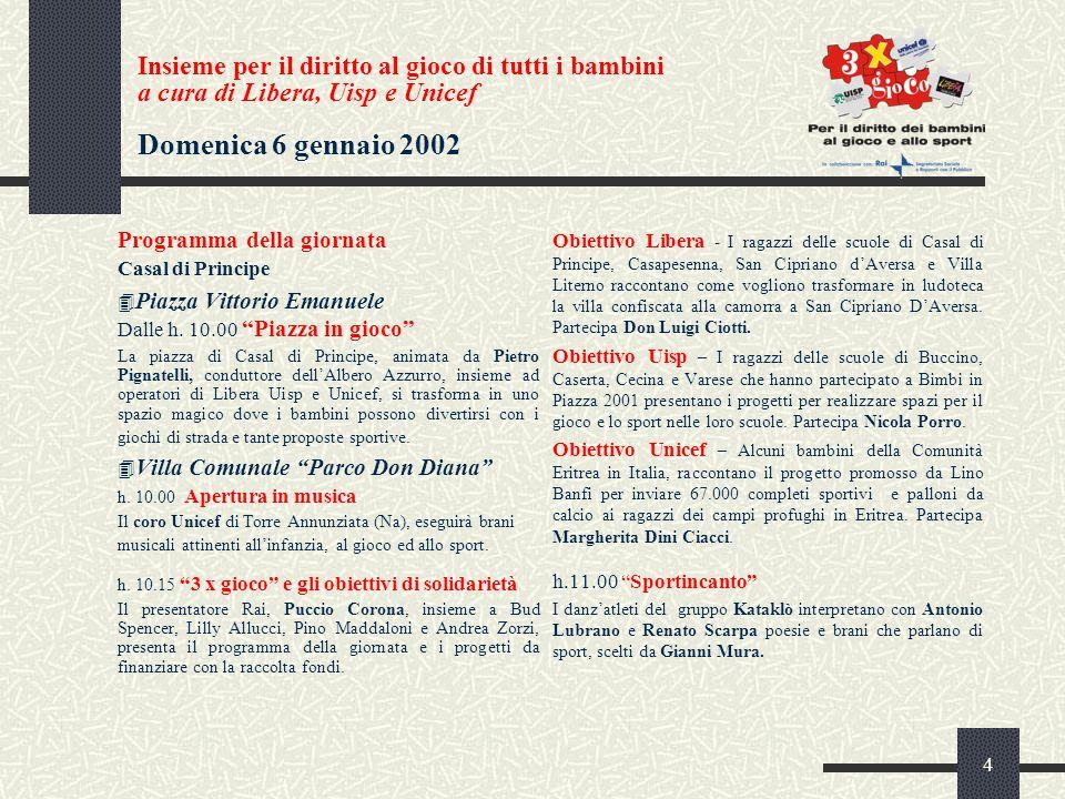 4 Insieme per il diritto al gioco di tutti i bambini a cura di Libera, Uisp e Unicef Domenica 6 gennaio 2002 Programma della giornata Casal di Principe 4 Piazza Vittorio Emanuele Dalle h.