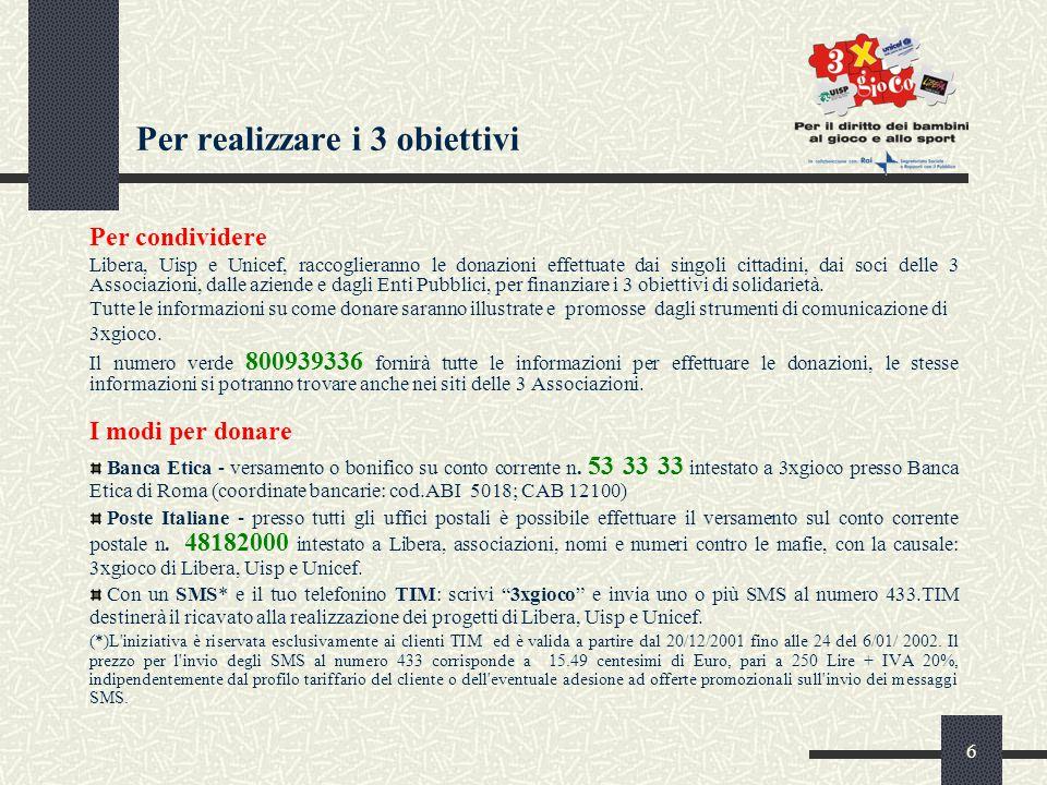 7 Il progetto 3 X gioco , è nato dalla volontà di 3 associazioni, promotrici da sempre del valore dei diritti per tutti.