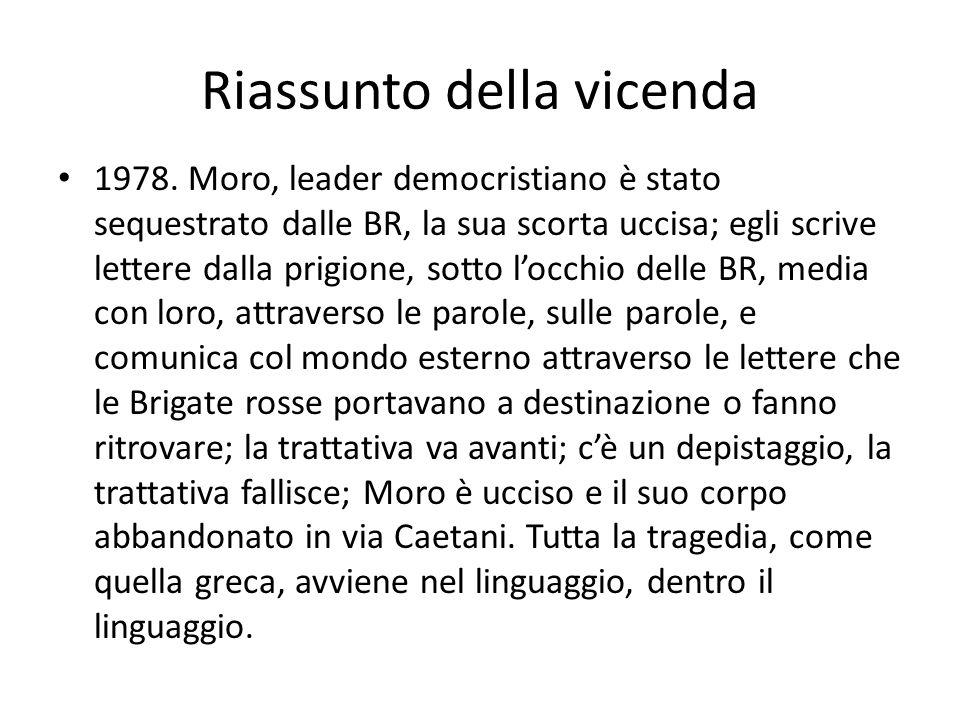 Riassunto della vicenda 1978. Moro, leader democristiano è stato sequestrato dalle BR, la sua scorta uccisa; egli scrive lettere dalla prigione, sotto