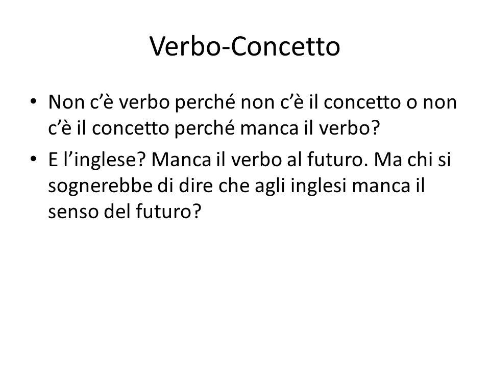 Verbo-Concetto Non c'è verbo perché non c'è il concetto o non c'è il concetto perché manca il verbo? E l'inglese? Manca il verbo al futuro. Ma chi si