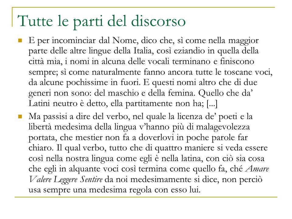 Tutte le parti del discorso E per incominciar dal Nome, dico che, sì come nella maggior parte delle altre lingue della Italia, così eziandio in quella