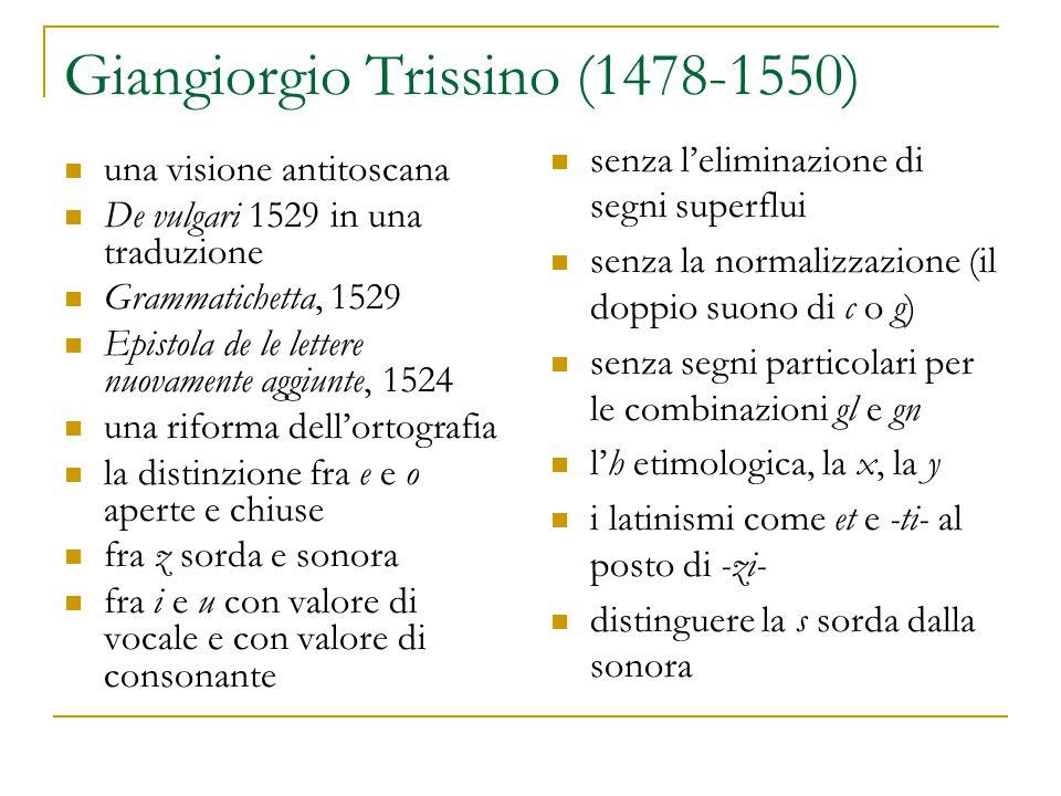 Giangiorgio Trissino (1478-1550) una visione antitoscana De vulgari 1529 in una traduzione Grammatichetta, 1529 Epistola de le lettere nuovamente aggi