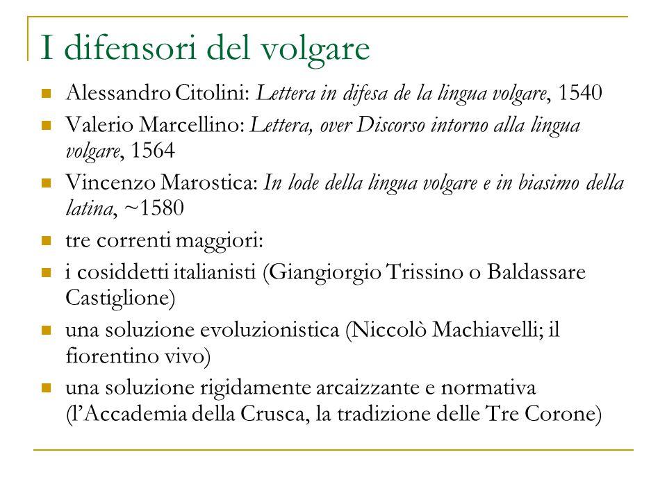 I difensori del volgare Alessandro Citolini: Lettera in difesa de la lingua volgare, 1540 Valerio Marcellino: Lettera, over Discorso intorno alla ling