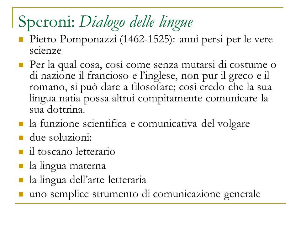 Speroni: Dialogo delle lingue Pietro Pomponazzi (1462-1525): anni persi per le vere scienze Per la qual cosa, così come senza mutarsi di costume o di