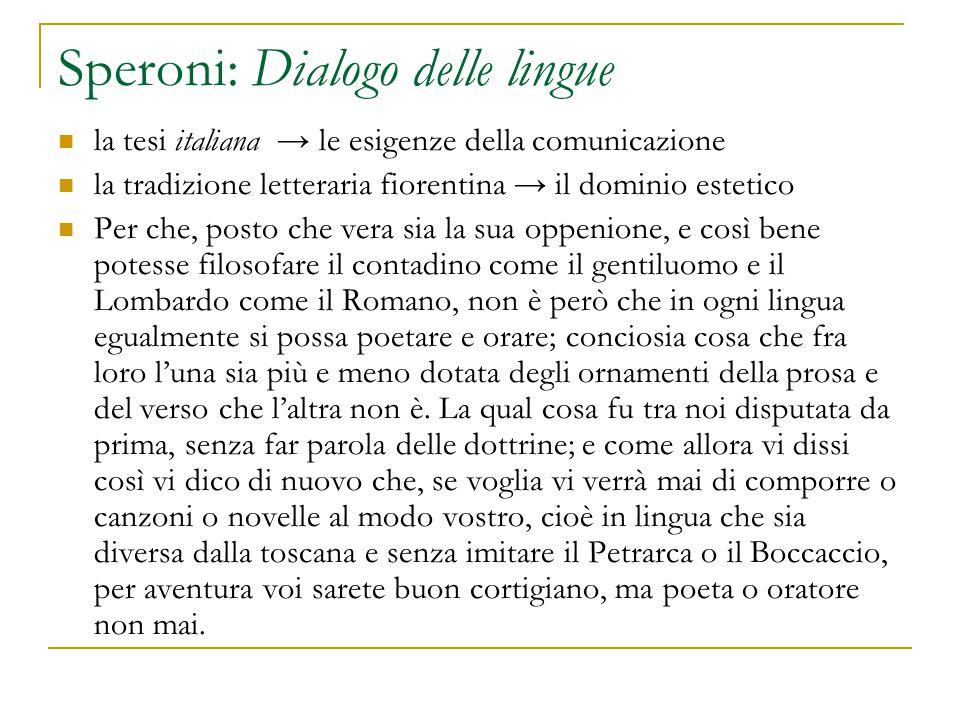 Speroni: Dialogo delle lingue la tesi italiana → le esigenze della comunicazione la tradizione letteraria fiorentina → il dominio estetico Per che, po