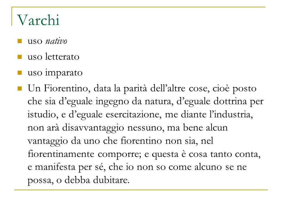 Varchi uso nativo uso letterato uso imparato Un Fiorentino, data la parità dell'altre cose, cioè posto che sia d'eguale ingegno da natura, d'eguale do