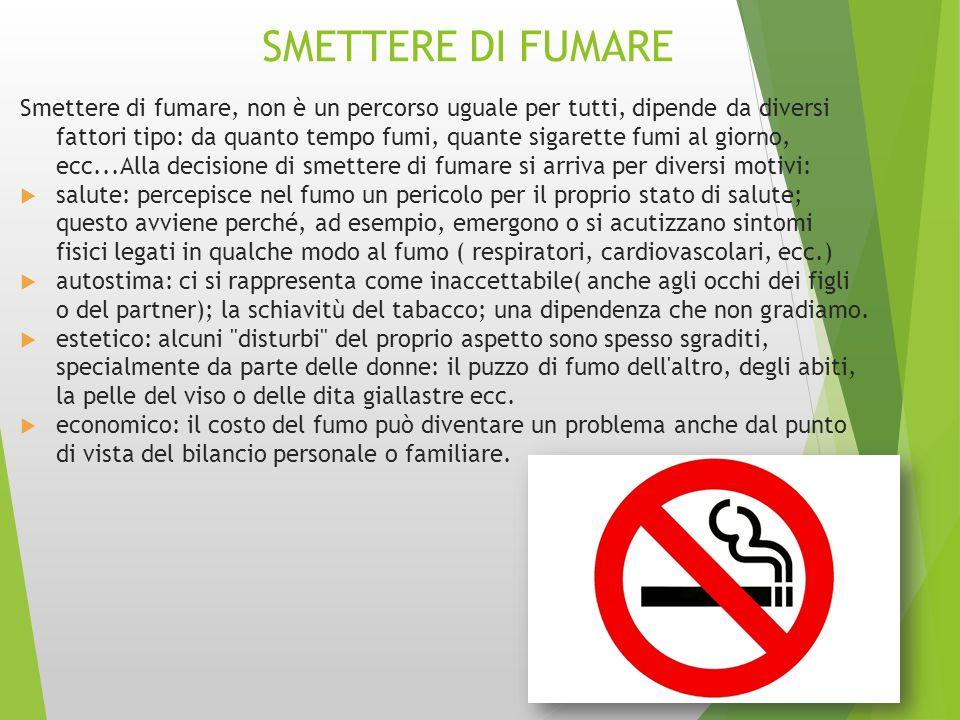 SMETTERE DI FUMARE Smettere di fumare, non è un percorso uguale per tutti, dipende da diversi fattori tipo: da quanto tempo fumi, quante sigarette fum