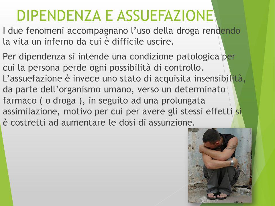 DIPENDENZA E ASSUEFAZIONE I due fenomeni accompagnano l'uso della droga rendendo la vita un inferno da cui è difficile uscire. Per dipendenza si inten