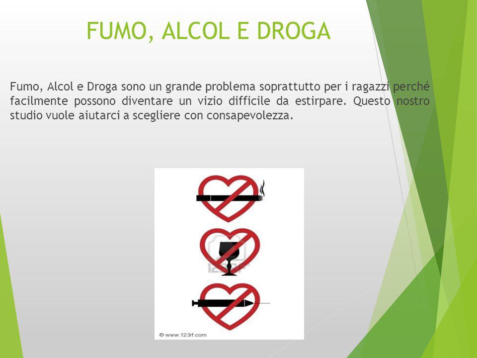 FUMO, ALCOL E DROGA Fumo, Alcol e Droga sono un grande problema soprattutto per i ragazzi perché facilmente possono diventare un vizio difficile da es