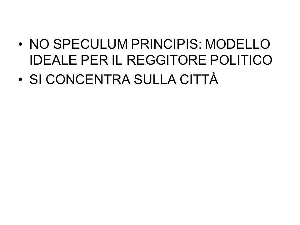 NO SPECULUM PRINCIPIS: MODELLO IDEALE PER IL REGGITORE POLITICO SI CONCENTRA SULLA CITTÀ