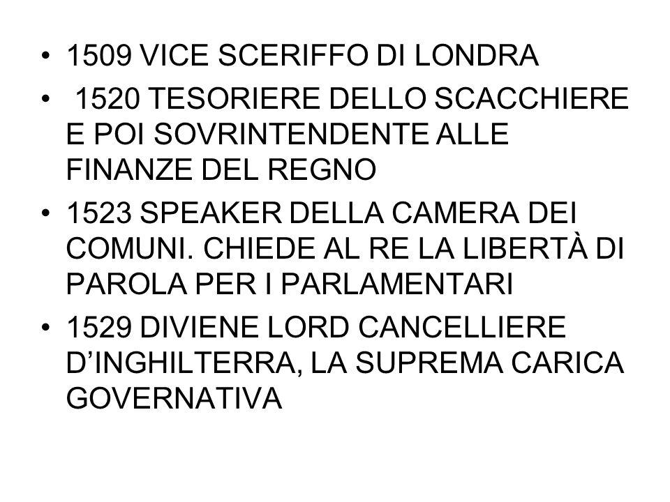 1509 VICE SCERIFFO DI LONDRA 1520 TESORIERE DELLO SCACCHIERE E POI SOVRINTENDENTE ALLE FINANZE DEL REGNO 1523 SPEAKER DELLA CAMERA DEI COMUNI. CHIEDE