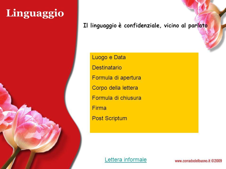 Linguaggio Il linguaggio è confidenziale, vicino al parlato Luogo e Data Destinatario Formula di apertura Corpo della lettera Formula di chiusura Firm