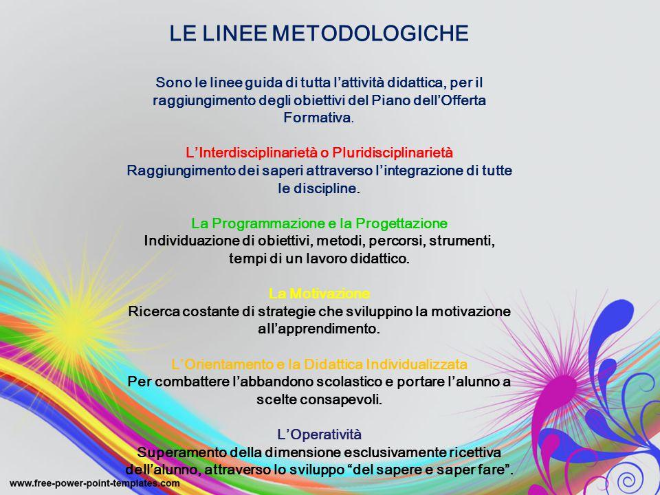LE LINEE METODOLOGICHE Sono le linee guida di tutta l'attività didattica, per il raggiungimento degli obiettivi del Piano dell'Offerta Formativa. L'In