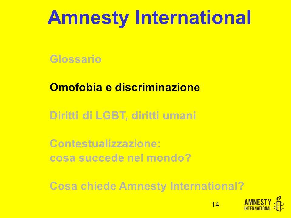 14 Amnesty International Glossario Omofobia e discriminazione Diritti di LGBT, diritti umani Contestualizzazione: cosa succede nel mondo.