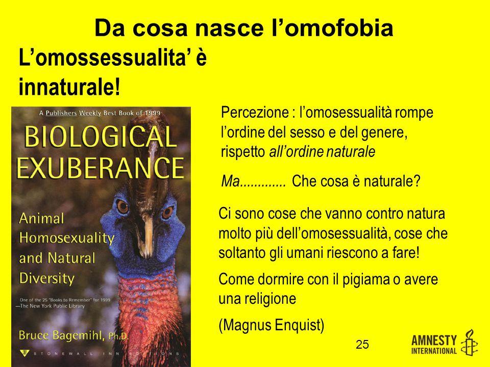 Da cosa nasce l'omofobia Percezione : l'omosessualità rompe l'ordine del sesso e del genere, rispetto all'ordine naturale Ma.............