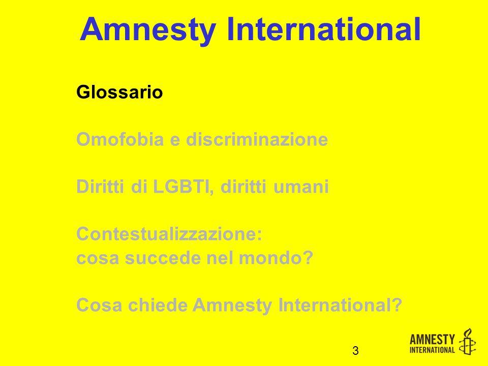 Glossario Omofobia e discriminazione Diritti di LGBTI, diritti umani Contestualizzazione: cosa succede nel mondo.