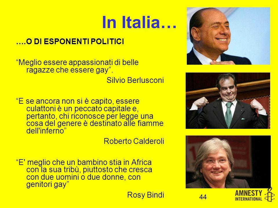 In Italia… ….O DI ESPONENTI POLITICI Meglio essere appassionati di belle ragazze che essere gay .