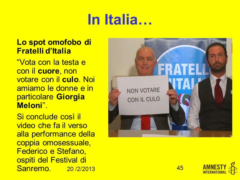 In Italia… Lo spot omofobo di Fratelli d'Italia Vota con la testa e con il cuore, non votare con il culo.