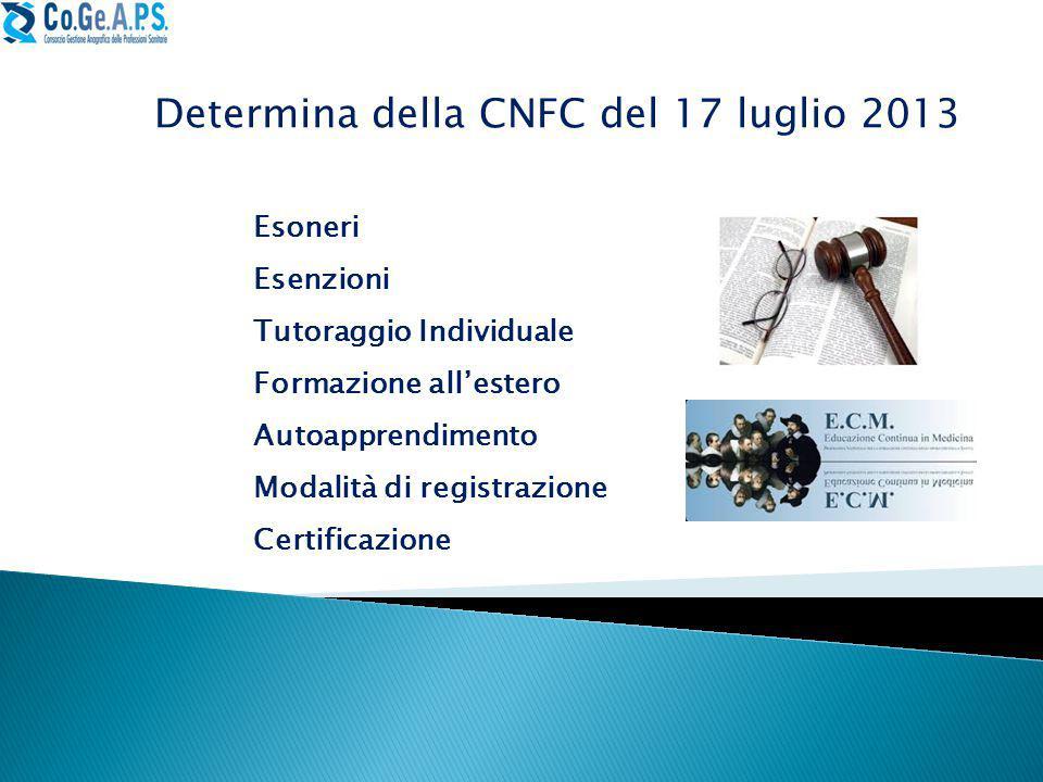 Determina della CNFC del 17 luglio 2013 Esoneri Esenzioni Tutoraggio Individuale Formazione all'estero Autoapprendimento Modalità di registrazione Certificazione