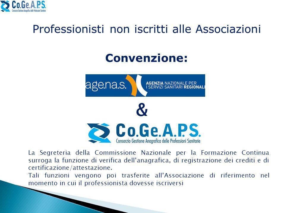 Professionisti non iscritti alle Associazioni Convenzione: & La Segreteria della Commissione Nazionale per la Formazione Continua surroga la funzione di verifica dell'anagrafica, di registrazione dei crediti e di certificazione/attestazione.