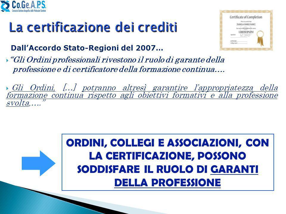 La certificazione dei crediti  Gli Ordini professionali rivestono il ruolo di garante della professione e di certificatore della formazione continua….