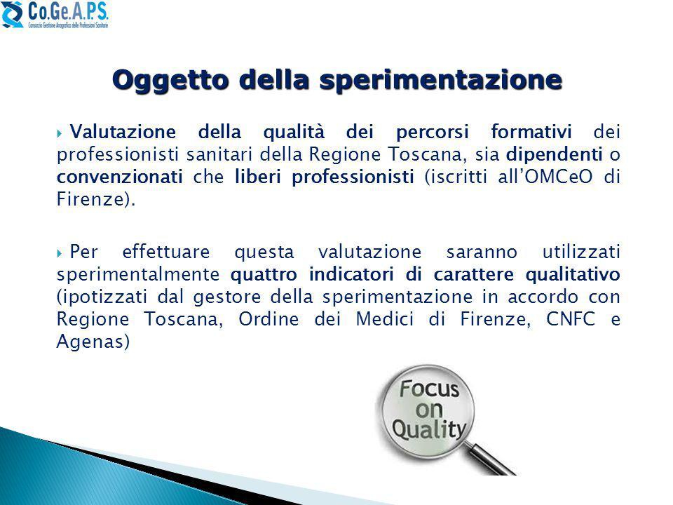  Valutazione della qualità dei percorsi formativi dei professionisti sanitari della Regione Toscana, sia dipendenti o convenzionati che liberi professionisti (iscritti all'OMCeO di Firenze).