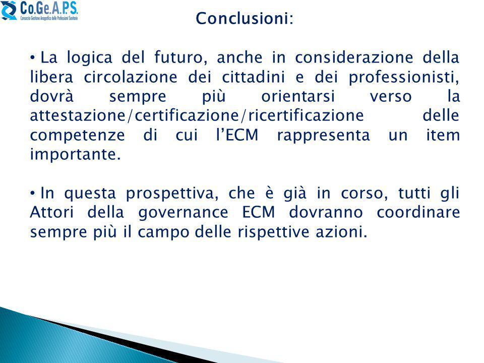 Conclusioni: La logica del futuro, anche in considerazione della libera circolazione dei cittadini e dei professionisti, dovrà sempre più orientarsi verso la attestazione/certificazione/ricertificazione delle competenze di cui l'ECM rappresenta un item importante.