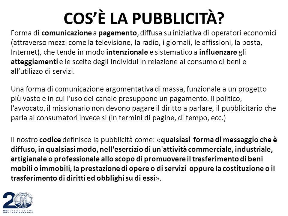 COS'È LA PUBBLICITÀ? Forma di comunicazione a pagamento, diffusa su iniziativa di operatori economici (attraverso mezzi come la televisione, la radio,