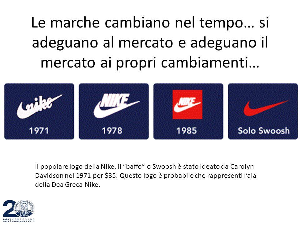 """Le marche cambiano nel tempo… si adeguano al mercato e adeguano il mercato ai propri cambiamenti… Il popolare logo della Nike, il """"baffo"""" o Swoosh è s"""