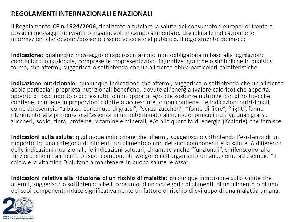REGOLAMENTI INTERNAZIONALI E NAZIONALI Il Regolamento CE n.1924/2006, finalizzato a tutelare la salute dei consumatori europei di fronte a possibili m