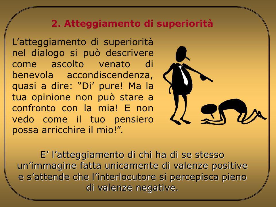 2. Atteggiamento di superiorità E' l'atteggiamento di chi ha di se stesso un'immagine fatta unicamente di valenze positive e s'attende che l'interlocu