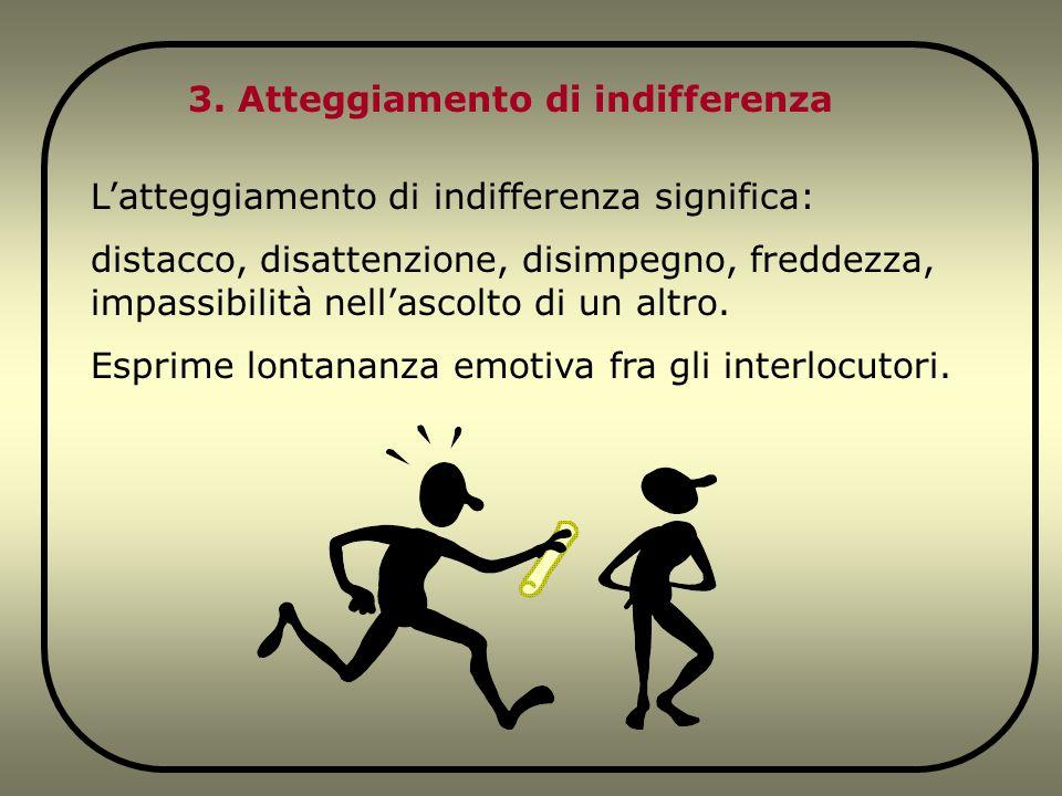 3. Atteggiamento di indifferenza L'atteggiamento di indifferenza significa: distacco, disattenzione, disimpegno, freddezza, impassibilità nell'ascolto