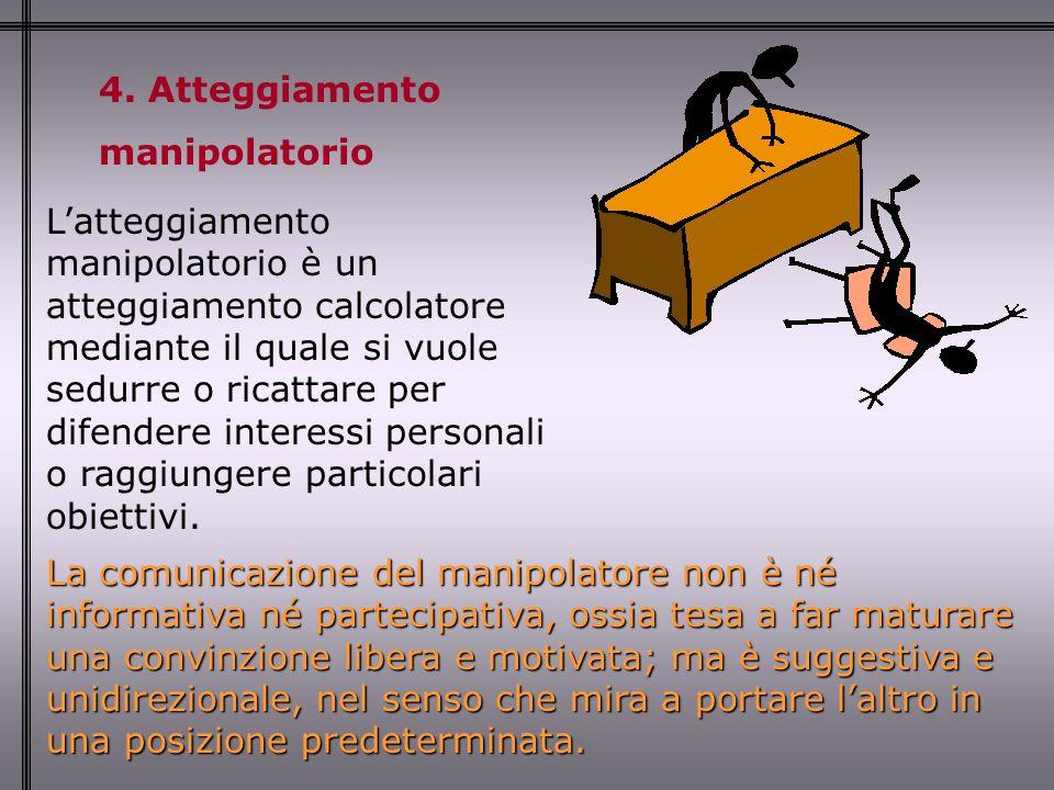 4. Atteggiamento manipolatorio La comunicazione del manipolatore non è né informativa né partecipativa, ossia tesa a far maturare una convinzione libe