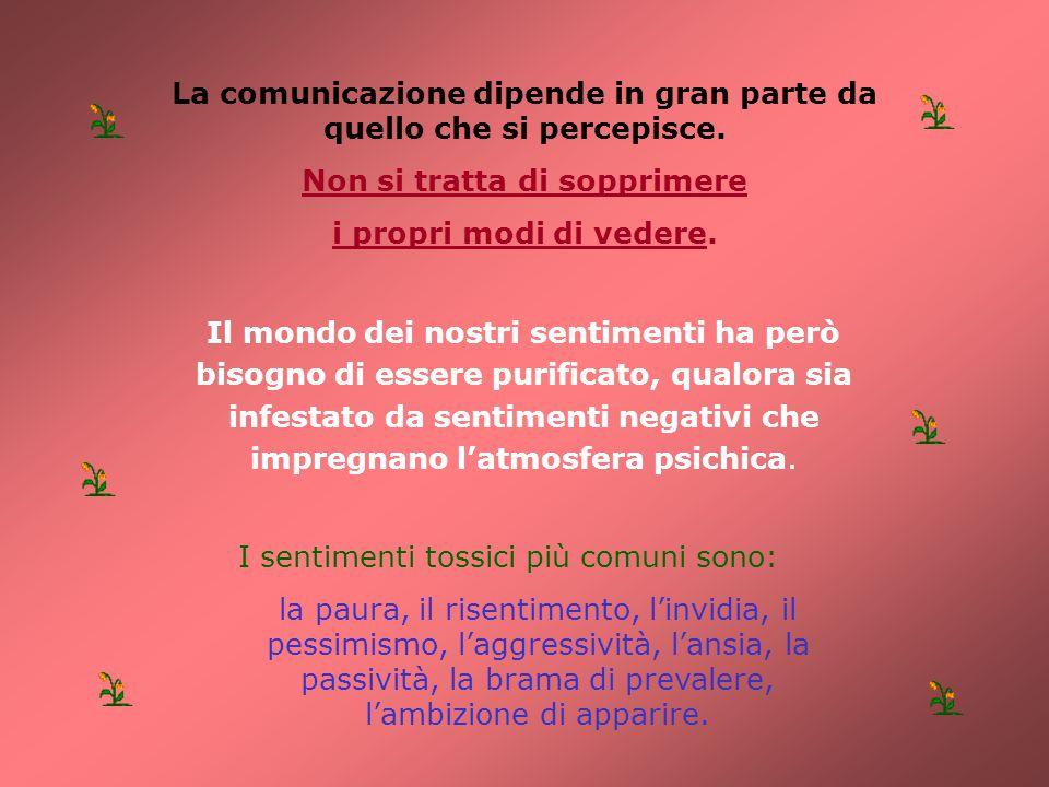 La comunicazione dipende in gran parte da quello che si percepisce. Non si tratta di sopprimere i propri modi di vedere. I sentimenti tossici più comu