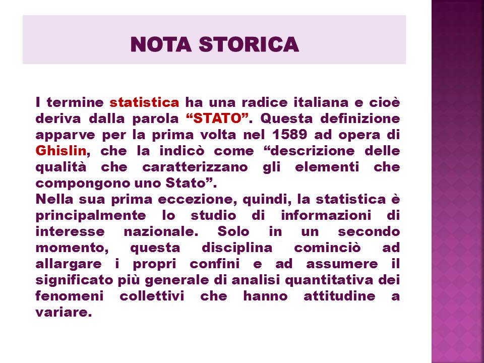 """I termine statistica ha una radice italiana e cioè deriva dalla parola """"STATO"""". Questa definizione apparve per la prima volta nel 1589 ad opera di Ghi"""