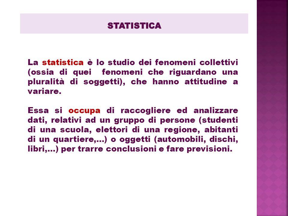 La statistica è lo studio dei fenomeni collettivi (ossia di quei fenomeni che riguardano una pluralità di soggetti), che hanno attitudine a variare. E