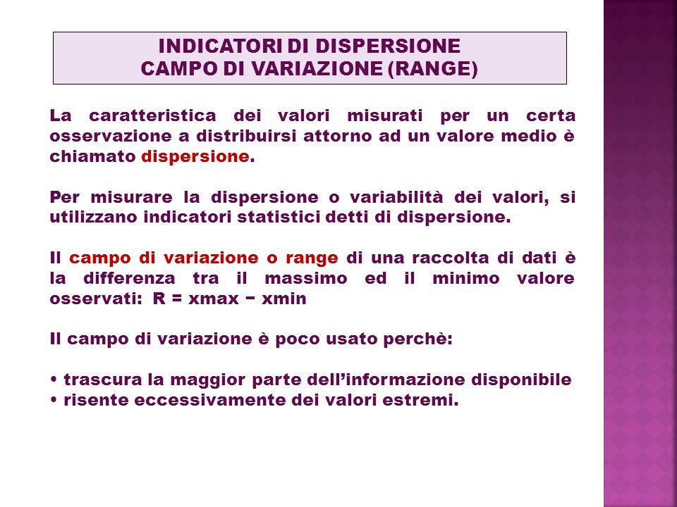 La caratteristica dei valori misurati per un certa osservazione a distribuirsi attorno ad un valore medio è chiamato dispersione. Per misurare la disp