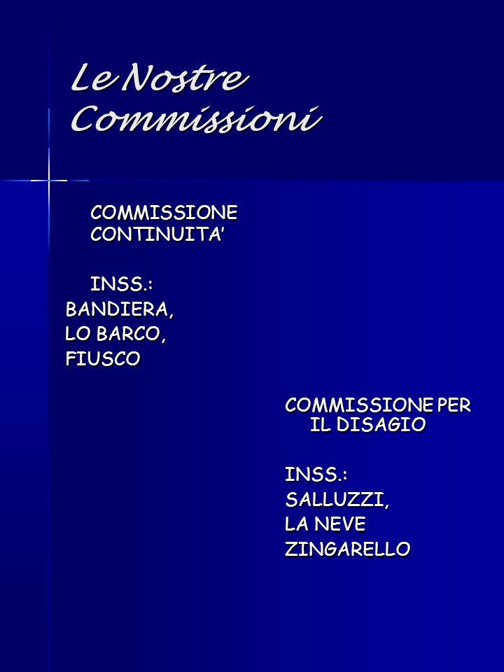 Le Nostre Commissioni COMMISSIONE CONTINUITA' INSS.:BANDIERA, LO BARCO, FIUSCO COMMISSIONE PER IL DISAGIO INSS.:SALLUZZI, LA NEVE ZINGARELLO