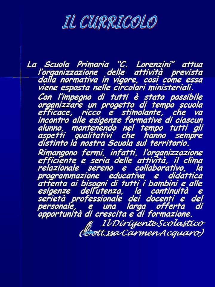 """La Scuola Primaria """"C. Lorenzini"""" attua l'organizzazione delle attività prevista dalla normativa in vigore, così come essa viene esposta nelle circola"""