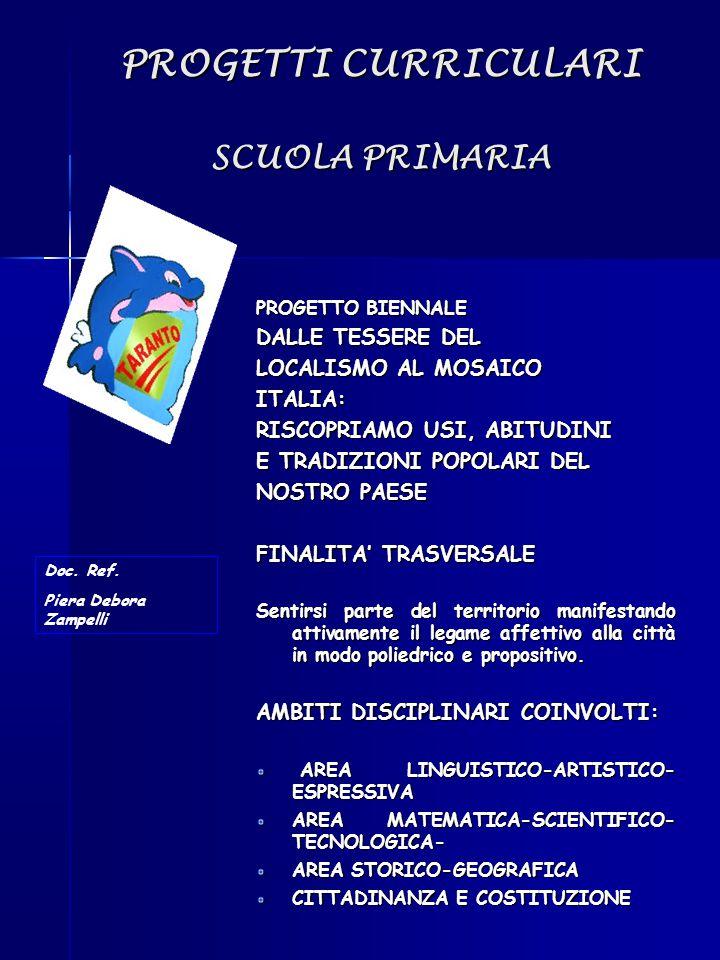 PROGETTI CURRICULARI SCUOLA PRIMARIA PROGETTO BIENNALE DALLE TESSERE DEL LOCALISMO AL MOSAICO ITALIA: RISCOPRIAMO USI, ABITUDINI E TRADIZIONI POPOLARI