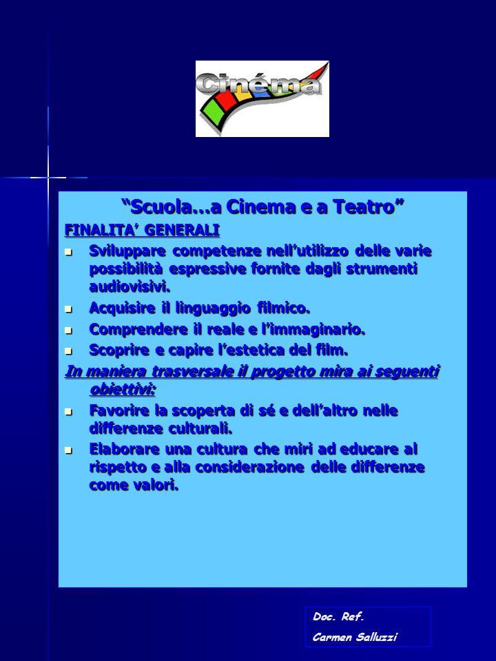"""""""Scuola…a Cinema e a Teatro"""" FINALITA' GENERALI Sviluppare competenze nell'utilizzo delle varie possibilità espressive fornite dagli strumenti audiovi"""