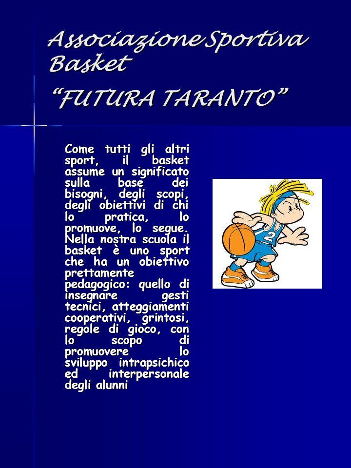 """Associazione Sportiva Basket """"FUTURA TARANTO"""" Come tutti gli altri sport, il basket assume un significato sulla base dei bisogni, degli scopi, degli o"""