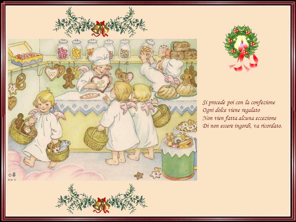 Si procede poi con la confezione Ogni dolce viene regalato Non vien fatta alcuna eccezione Di non essere ingordi, va ricordato.