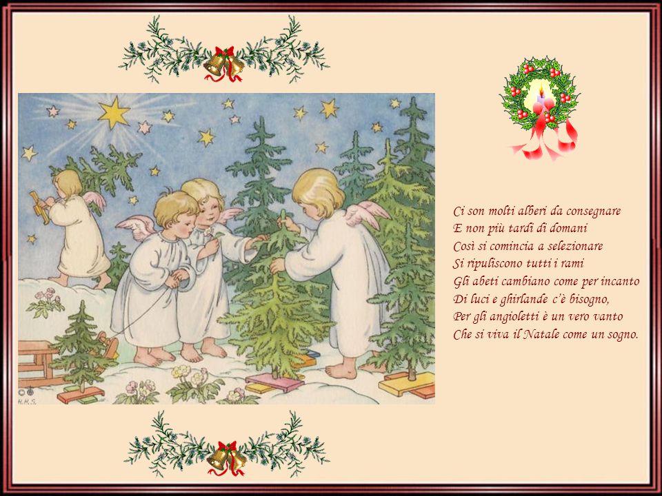 Ci son molti alberi da consegnare E non più tardi di domani Così si comincia a selezionare Si ripuliscono tutti i rami Gli abeti cambiano come per incanto Di luci e ghirlande c'è bisogno, Per gli angioletti è un vero vanto Che si viva il Natale come un sogno.