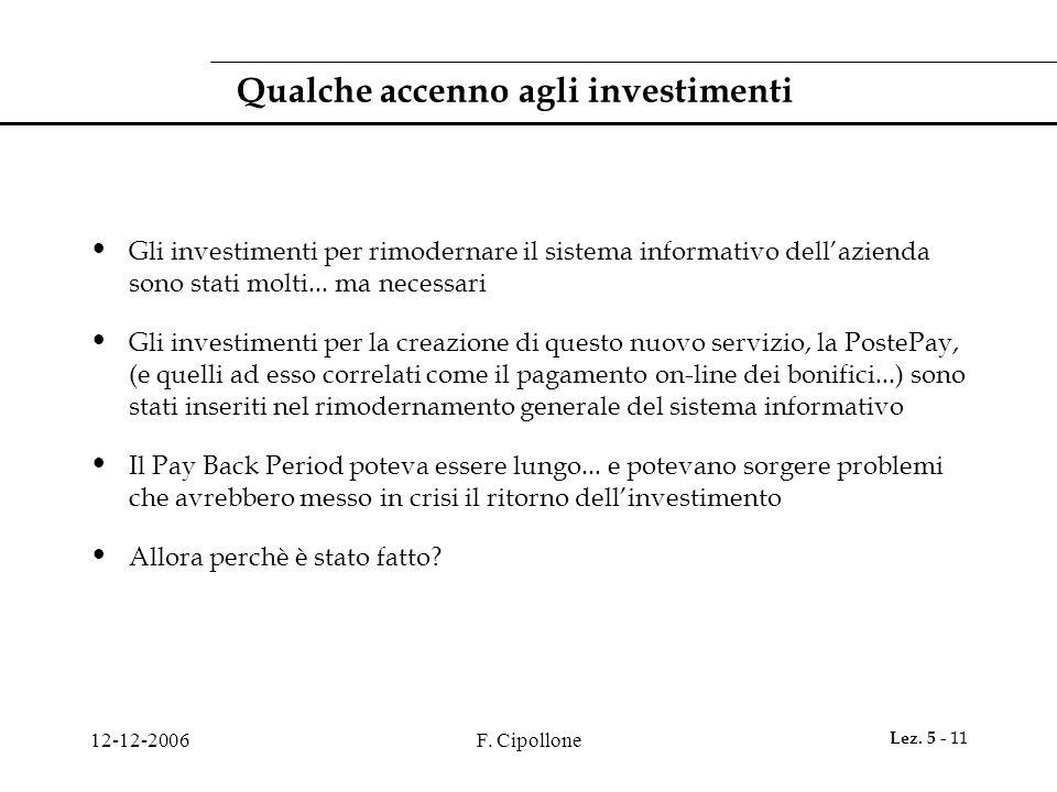 12-12-2006F. Cipollone Lez. 5 - 11 Qualche accenno agli investimenti Gli investimenti per rimodernare il sistema informativo dell'azienda sono stati m