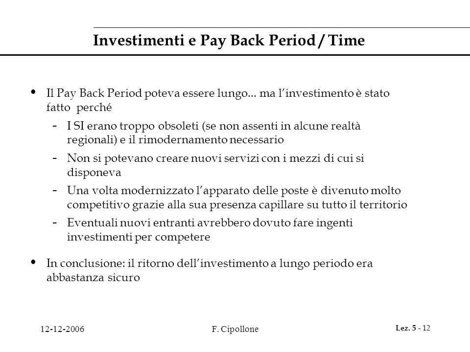 12-12-2006F. Cipollone Lez. 5 - 12 Investimenti e Pay Back Period / Time Il Pay Back Period poteva essere lungo... ma l'investimento è stato fatto per