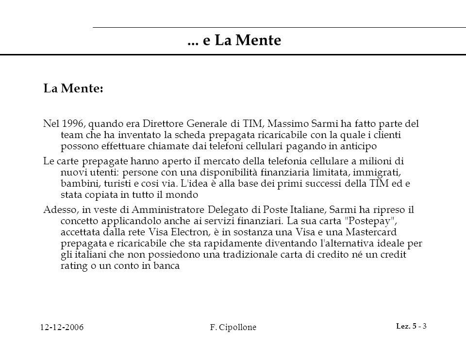12-12-2006F. Cipollone Lez. 5 - 3... e La Mente La Mente: Nel 1996, quando era Direttore Generale di TIM, Massimo Sarmi ha fatto parte del team che ha