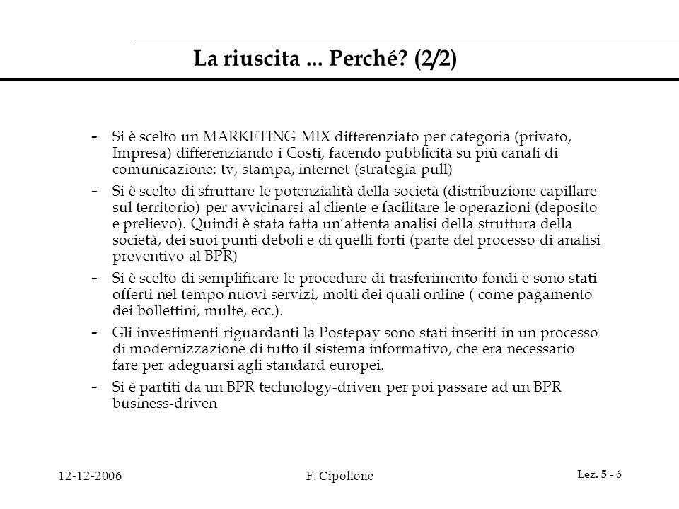 12-12-2006F.Cipollone Lez. 5 - 6 La riuscita... Perché.