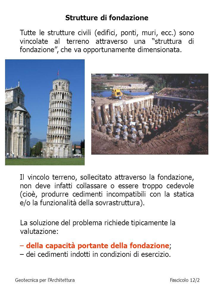 Geotecnica per l ArchitetturaFascicolo 12/2 Tutte le strutture civili (edifici, ponti, muri, ecc.) sono vincolate al terreno attraverso una struttura di fondazione , che va opportunamente dimensionata.